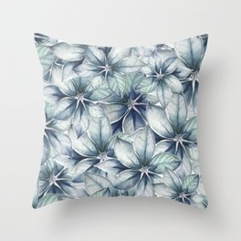 Blue Leafs III Watercolor Throw Pillow