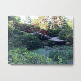 Red arched bridge at Kubota Garden Metal Print