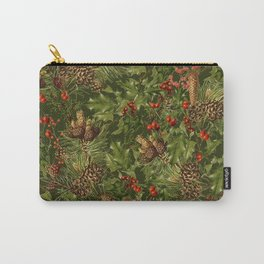 Traditional Holly Christmas Pattern Carry-All Pouch
