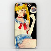 sailor moon iPhone & iPod Skins featuring sailor moon by withapencilinhand