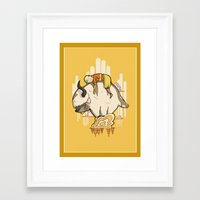 appa Framed Art Prints featuring Aang and Appa by ArtPhish