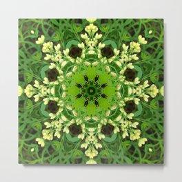 Cream and green botanical mandala - Baptisia flowers 3 Metal Print