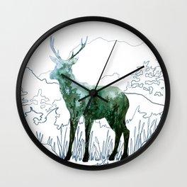Watercolor Deer on Line Drawn Mountain Wall Clock