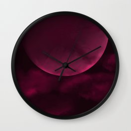 Crimson Moon Wall Clock