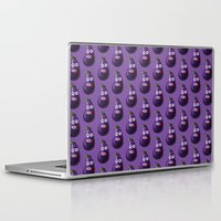 hiccup Laptop & iPad Skins featuring Funny Cartoon Eggplant Pattern by Boriana Giormova