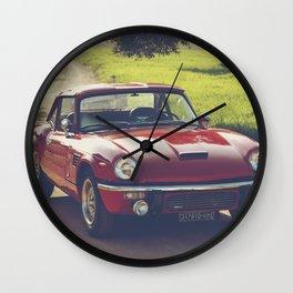 Triumph Spitfire, classic British sportscar, English Auto fine art print, old car Wall Clock