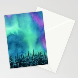 """Wilderness Lights"" Aurora Borealis watercolor landscape painting Stationery Cards"