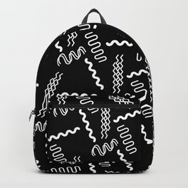 Black white retro geometrical 80's abstract pattern Backpack