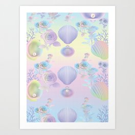 Seashell Wallpaper Art Print