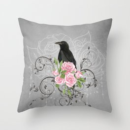 Wonderful crow with flowers Throw Pillow
