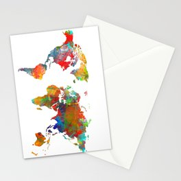 World map watercolor 3 Stationery Cards