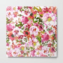 Pink lilac orange watercolor botanical roses floral Metal Print
