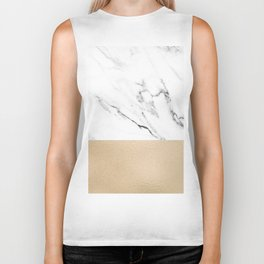 White Marble with Black and Copper Bronze Biker Tank