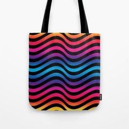 Wiggly Vibrant Multicolour Lines Tote Bag