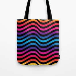 Wiggly Vibrant Multicolour Lines Tote Bag