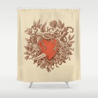 marc Shower Curtains featuring Heart of Thorns  by Terry Fan