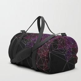 Polygonal purple, black and white Duffle Bag