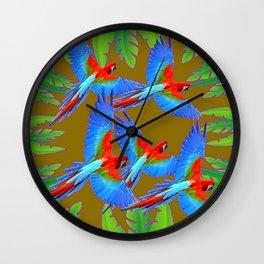 GREEN JUNGLE BLUE MACAW PARROTS Wall Clock