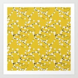 Cream Cherry Blossom Branches on Gold Art Print