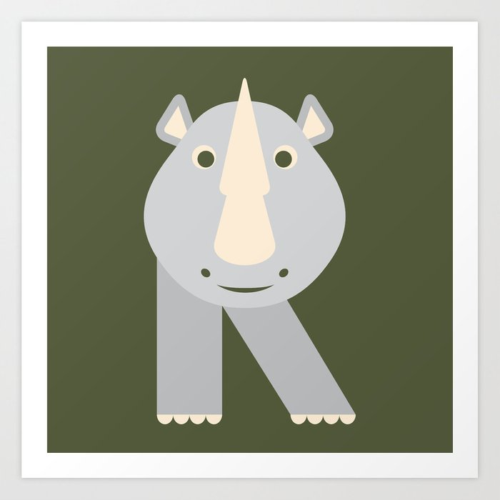 Letter R // Animal Alphabet // Rhino Monogram Art Print