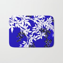 LEAF AND TREE BRANCHES BLUE AD WHITE BLACK BERRIES Bath Mat