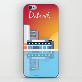 Detroit, Michigan - Skyline Illustration by Loose Petals iPhone Skin