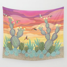 rufous hummingbirds & cactus Wall Tapestry