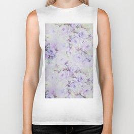 Vintage lavender gray botanical roses floral Biker Tank
