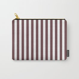 Pantone Red Pear & White Stripes, Wide Vertical Line Pattern Carry-All Pouch