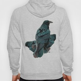 THREE CROWS/RAVENS  SOCIALIZING FROM SOCIETY6 Hoody