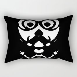 old skinny skull and bone with glasses in black and white Rectangular Pillow