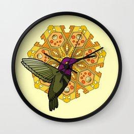 hummingbird and heptagon mandala Wall Clock
