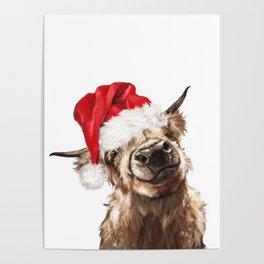 Christmas Highland Cow Poster
