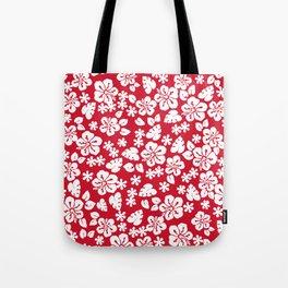 Hawaiian Hibiscus Flower pattern red Tote Bag