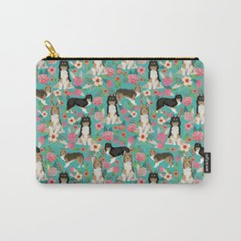 Shetland Sheep Dog florals cute dog breed illustration pattern gifts for dog lover by pet friendly Carry-All Pouch