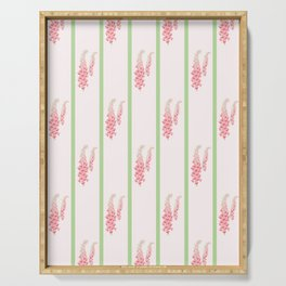 Stripes and Foxglove Pink and Green Repeat Pattern Serving Tray