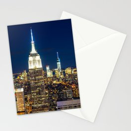 New York city skyline at night Stationery Cards