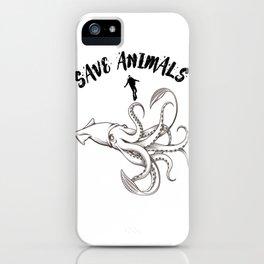 Giant squid save animals iPhone Case