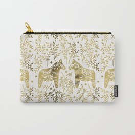 Swedish Dala Horses – Gold Palette Carry-All Pouch