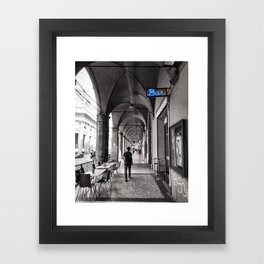 Black and white Bologna Street Photography Framed Art Print