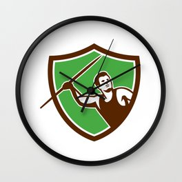 Javelin Throw Track and Field Athlete Shield Wall Clock