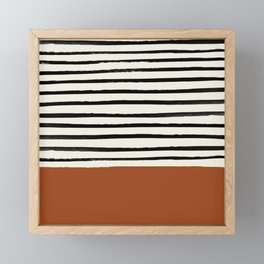 Burnt Orange x Stripes Framed Mini Art Print