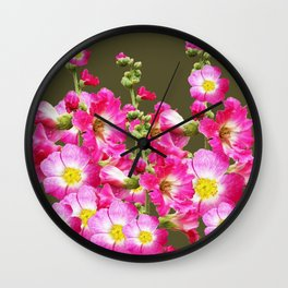 Pink Florals On Puce Color Art Wall Clock