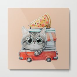 Cat in pizza truck Metal Print