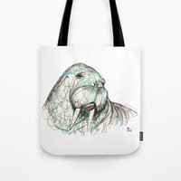 walrus Tote Bags featuring Walrus by Ursula Rodgers