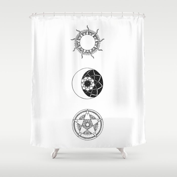 Sun Moon And Star Mandalas Shower Curtain By Catherinebuggins