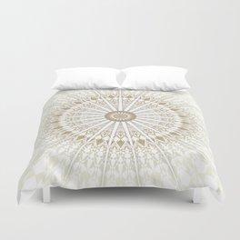 Khaki White Mandala Duvet Cover