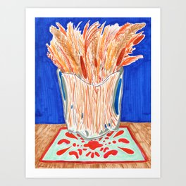 Glass Vase with Dried Plants drawing Art Print
