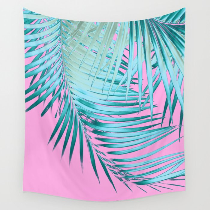 Palm Leaves Pink Blue Vibes #1 #tropical #decor #art #society6 Wall Tapestry