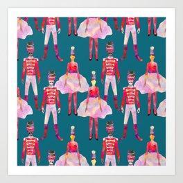 Nutcracker Ballet - Teal Blue Art Print